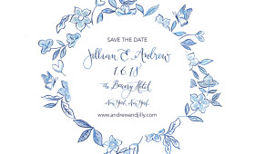 China Blue inspired SAVE THE DATE