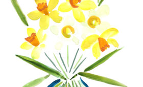 Daffodil Simple Bouquet | 11×14 watercolor